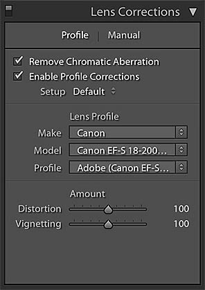 Lightroom Lens Correction Profile panel