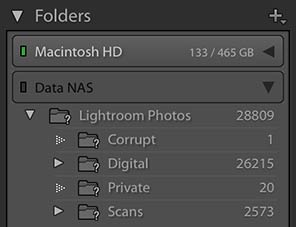 Lightroom Folders missing question mark drive offline