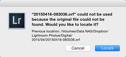Lightroom locate missing file