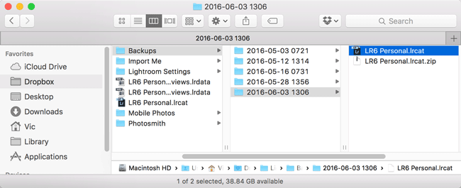 Lightroom backup catalog in Finder unzipped
