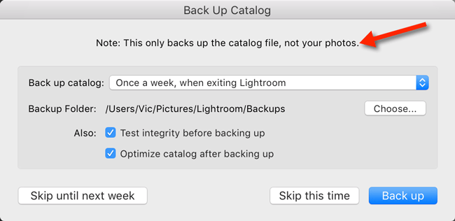 Lightroom's backup does not back up the photos