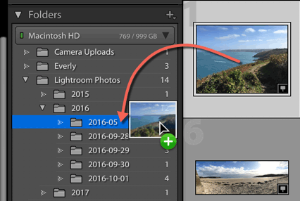 how to move photos in drive into a folder